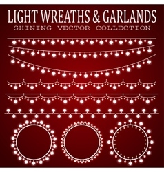 Garlands with light bulbs in the form of hearts vector image vector image