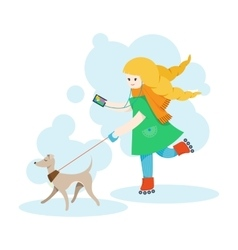 Girl walking an italian greyhound and listen music vector