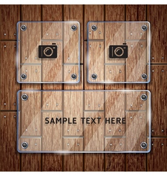 Glass frame and wooden vector image