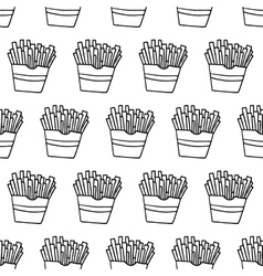 Hand Drawn French Fries Seamless Pattern vector image vector image