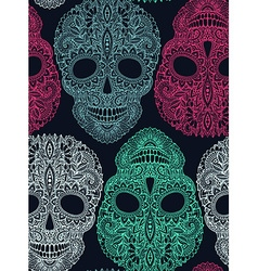 Hand drawn seamless pattern with human skulls in vector image vector image