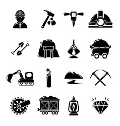 mining minerals business icons set simple style vector image