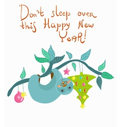 New year card with funny doodle cartoon sloth vector