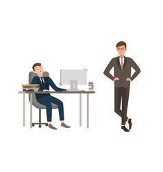 office worker dressed in business suit sits at vector image