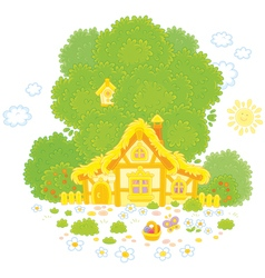 Old hut on Easter day vector image vector image
