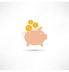 pink pig with money vector image