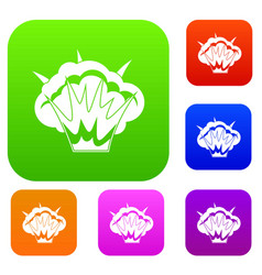 Projectile explosion set color collection vector