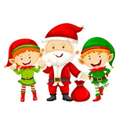 Santa and two eleves with red bag vector image vector image