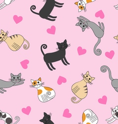Seamless pattern with love cats vector