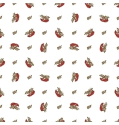 seamless pattern with rowan and leaves vector image