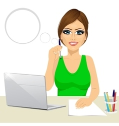 secretary woman working at the laptop vector image