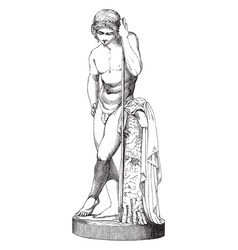 Statue of narcissus a greek mythological hero who vector