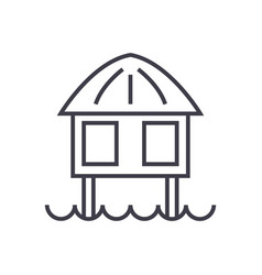 stilt house line icon sign vector image