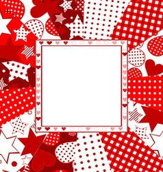 Valentine celebration card with hearts stars and vector image vector image