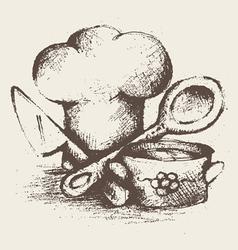 vintage cooking utensils vector image