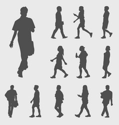 Walk silhouettes vector