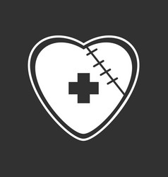 White icon on black background sewn heart with vector