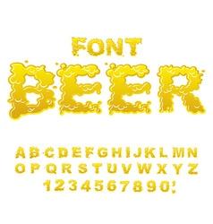 Beer font yellow liquid abc flowable typography vector