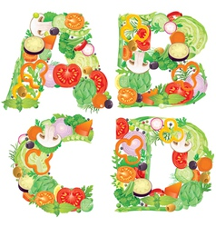 Alphabet of vegetables ABCD vector image