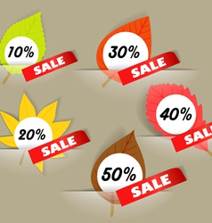 Autumn sale stickers in a pockers collection vector image