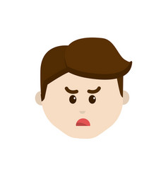 cartoon man face angry expression vector image