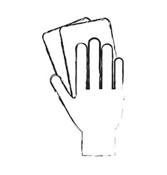 Monochrome blurred silhouette of hand with soccer vector