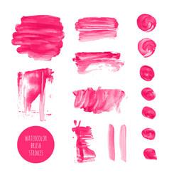 Pink watercolor dry brush stroke texture kit vector
