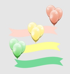 Colorful balloon with ribbon element vector