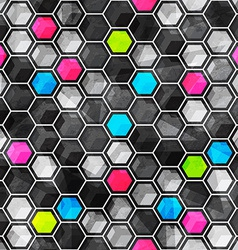 Grid seamless pattern with grunge effect vector