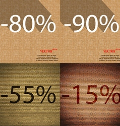 90 55 15 icon set of percent discount on abstract vector