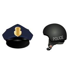 Police hat and helmet vector image