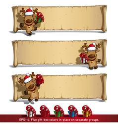Christmas elks papyrus gifts white background vector