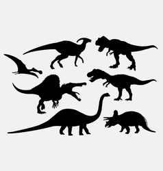 Dinosaur animal silhouettes vector