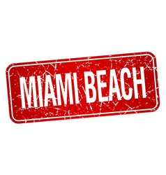 Miami beach red stamp isolated on white background vector
