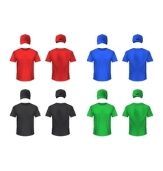 Basebal cap and tshirt colored sets vector