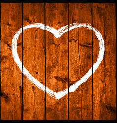 Brush stroke white heart on realistic texture wood vector