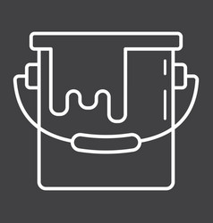 bucket of paint line icon build and repair vector image vector image