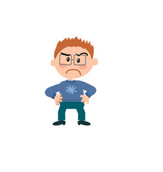 cartoon character of a serious boy with glasses vector image vector image