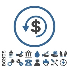Chargeback flat rounded icon with bonus vector