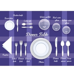 Cutlery on Dining Table vector image