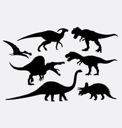 Dinosaur animal silhouettes vector