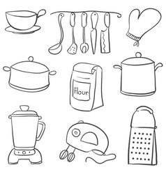 Doodle of kitchen set black white vector