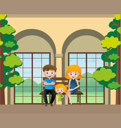 family members sitting on the bench vector image