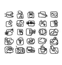 Hand drawn Art icon set vector image