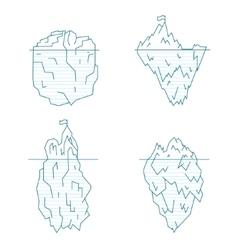 Iceberg line style set vector