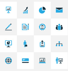 Job colorful icons set collection of contract vector