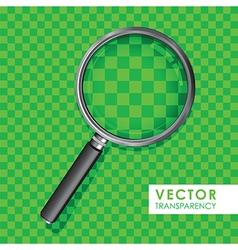 magnifying glass transparency on checkered green vector image vector image
