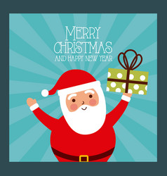 merry christmas and happy new year santa holding vector image