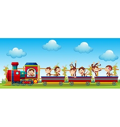 Monkey and train vector image