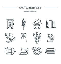 oktoberfest icons line set vector image